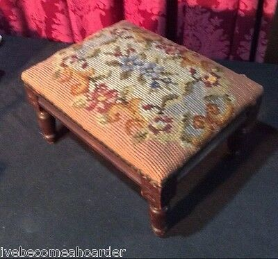 Antique Carved Continental French Italian Needlepoint Tapestry Top Footstool