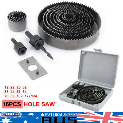 AU 16pcs HOLE SAW CUTTING SET KIT 19-127MM WOOD METAL ALLOYS w/ Box