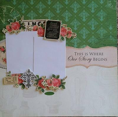 handmade premade scrapbook page layout 12 X 12 - Heritage - Family