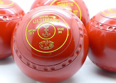 Set Drakes Pride Ultimate Lawn Bowls Size 3H Gripped Stamped 17 Red