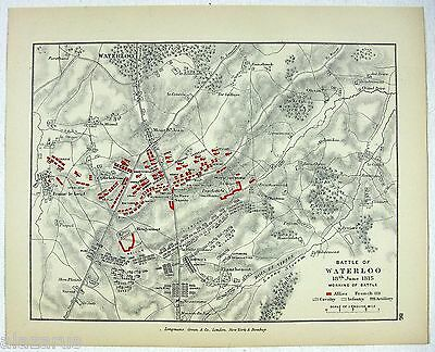Vintage Map The Battle of Waterloo Morning June 18, 1815 by Longmans Green 1905