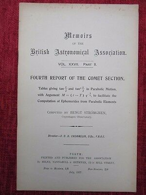 1927 Memoirs Of The British Astronomical Association Comet Section Vintage  uc4