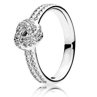 Genuine & Authentic Pandora Silver Sparkling Love Knot Ring. 190997CZ. Size 56.