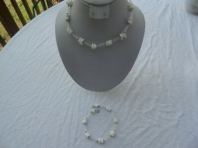 Vintage Silvertone Plastic and Shell Necklace and Ankle Bracelet
