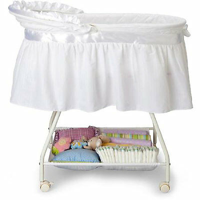 Portable Baby Bassinet Newborn Cradle White Moses Basket Infant Nursery