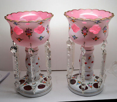 Vintage BOHEMIAN VICTORIAN Czech PINK Cased Glass  Mantle Lustre Luster Lamps