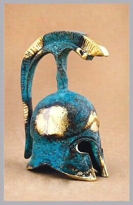 Ancient Greek Bronze Miniature Helmet Green Gold Oxidization 381