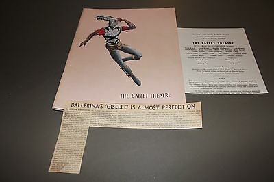 Vintage The Ballet Theatre Magazine 1955 & PlayBill March 1956 Giselle