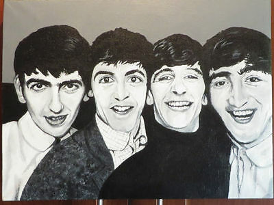 The Beatles-- early days **Original Hand Painted Canvas!!!!!!