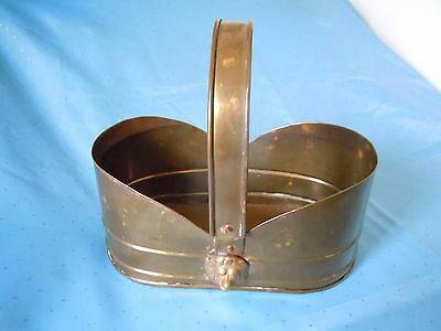 Vintage Oblong Brass Planter Bucket Basket Lion Heads Quality Unique