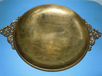 Vintage Brass Serving Tray Platter Centerpiece Israel Ornate Quality Bowl