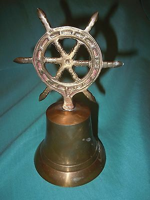 Vintage Brass Ships Wheel Dinner Bell Nautical Decor Old Maritime Theme