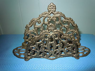 VINTAGE BRASS LETTER MAIL HOLDER or NAPKIN ORNATE ANTIQUE QUALITY PIECE