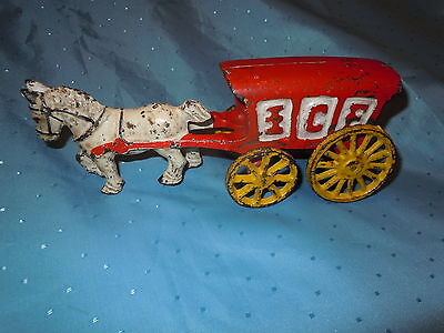 Antique Heavy Cast Iron Toy Horse & Ice Wagon Cart Stage Coach Unique Vintage