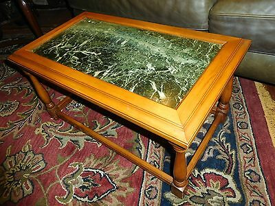 Antique Heavy Inlaid Green Marble Coffee Side End Table Vintage Sturdy