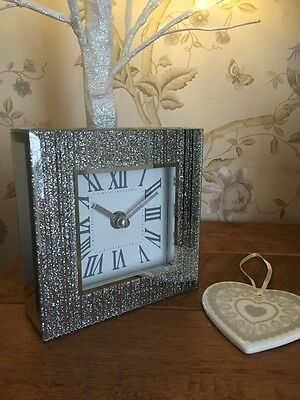 New Silver Glitter Bling Contemporary Mantle Clock Gift