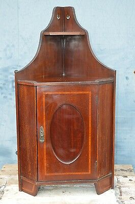 Antique Wood Wall Hanging Corner Unit Cabinet Inlaid Key Country House Style