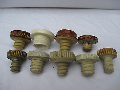 9x STONEWARE FLAGON BED/FOOT WARMER BOTTLE STOPPERS c1910