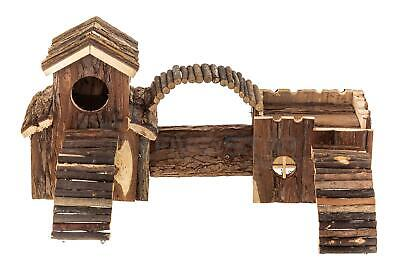 Wooden Pet Hamster Playground Natural Gerbil Mouse Play House Tunnel Toy
