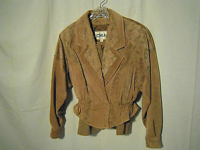 Vintage Womens Small Size 10 Suede Leather Jacket and Matching Skirt