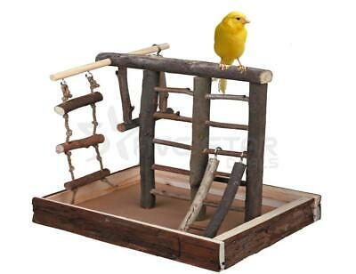 Small Wooden Bird Pet Budgie Canary Playground Natural Perch Ropes Swing Fun