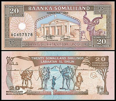 SOMALILAND,  20 Shillings,  P-3a,  1994, Unc  Banknote  Africa
