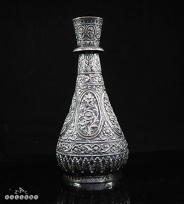 19th Century Antique Indo Persian Solid Silver Huqqa / Hookah 366g