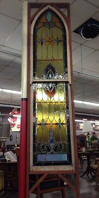 Antique Late 1800's Gothic X Large Stained Glass Window  Beautiful!!
