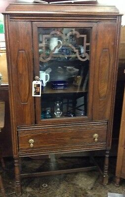 Antique Solid Wood China Hutch W/ Glass Door  Beautiful!