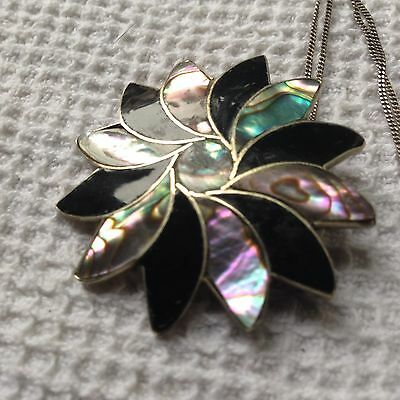 Sterling Silver Antique Abalone Monochrome Pendant Necklace & Brooch Vintage