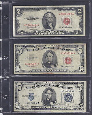 Lot of 3 Notes, $2 & $5 Legal Tenders, Red Seals + $5 Silver Certificate, CHEAP