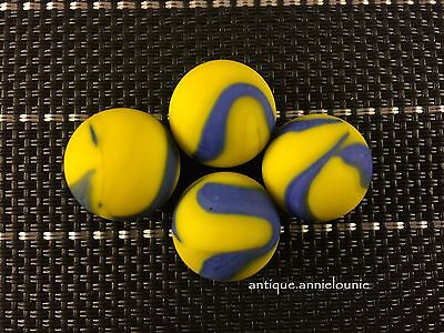 Lot of 4 Yellow and Blue Swirl Tumbled Vintage Marbles 11/16''