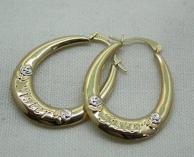 "Vintage Lovely Pair Of Two Colour 9ct Gold ""Sister"" Hoop Earrings"