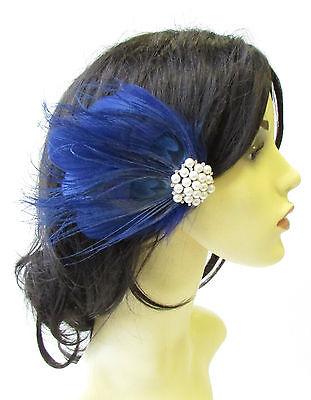 Navy Blue Ivory Silver Pearl Peacock Feather Fascinator Hair Clip Headpiece 1809