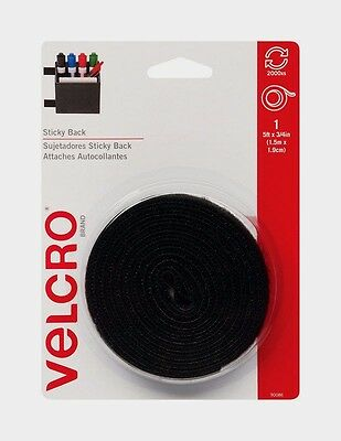 VELCRO Hook & Loop Fastener 5 ft x 3/4 in W Black Adhesive Sticky Backing 90086
