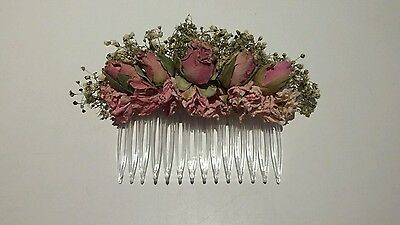 Wedding Hair Comb. Natural Dried Flowers by Florence and Flowers Bridal. Bespoke