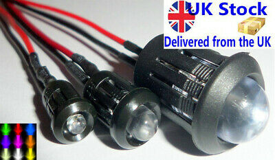3/5/10mm Ultra Bright Pre-wired Constant/Flashing 12v LEDs Optional Holders.