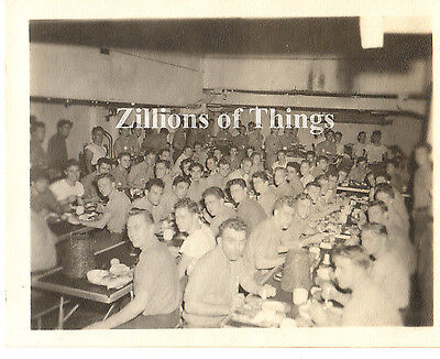 Original WWII Vet's Photo Crew USS Karnes APA-175 at chow During WWII