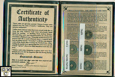 CHINA 5 DYNASTY -2,000 Years of Chinese Bronze Cash Coins in Album w/ COA (OOAK)