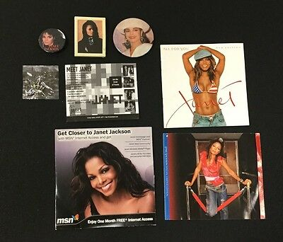 Lot Janet Jackson Cd Covers Button Pin Magnet Concert Inserts Rare Msn Ad