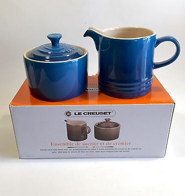 New LE CREUSET Stoneware Cream and Sugar Set, Marseille Blue