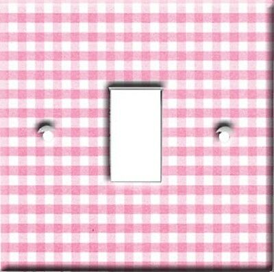 Brand New - Pink Gingham Girls Light Switch Cover