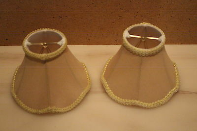 Chandelier Lampshade Clip On Bulb Shade Beige Gold Fabric FOR Small  Bulb