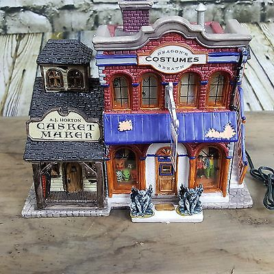 Halloween Lemax Dragon's Breath Costume Shop SpookyTown Porcelain Lighted House