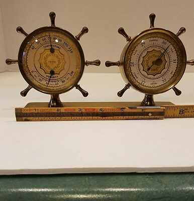 Vintage Swift and Anderson Boston MA Ship Wheel Helm Design Brass Barometer