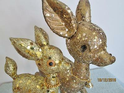 2 Vintage Gold Glitter & Confetti Large & Small Christmas Reindeers With Bells