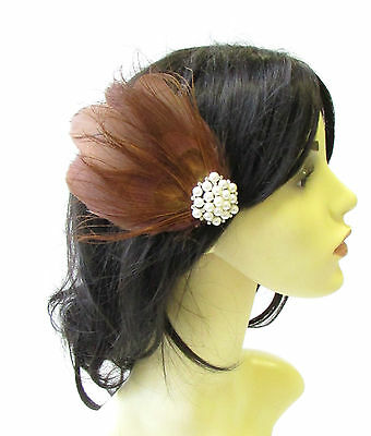 Brown Ivory Silver Pearl Peacock Feather Fascinator Hair Clip Headpiece Vtg 1815