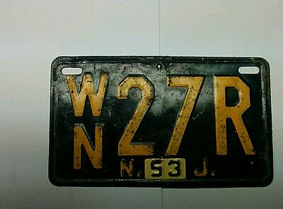1953 new jersey license tag, #WN27R, 11.3GR