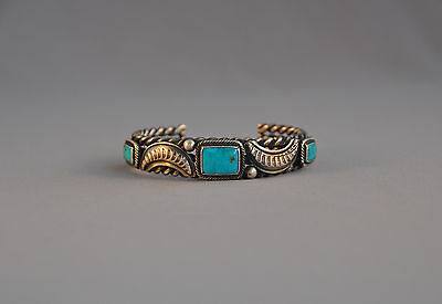 Early Navajo Heavy Silver Bracelet - 3 Great Square Turquoise - Stampwork