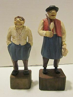 """Lot of 2 Bavarian 8"""" & 8-3/4"""" hand carved male folk art figures -1 with pipe VGC"""